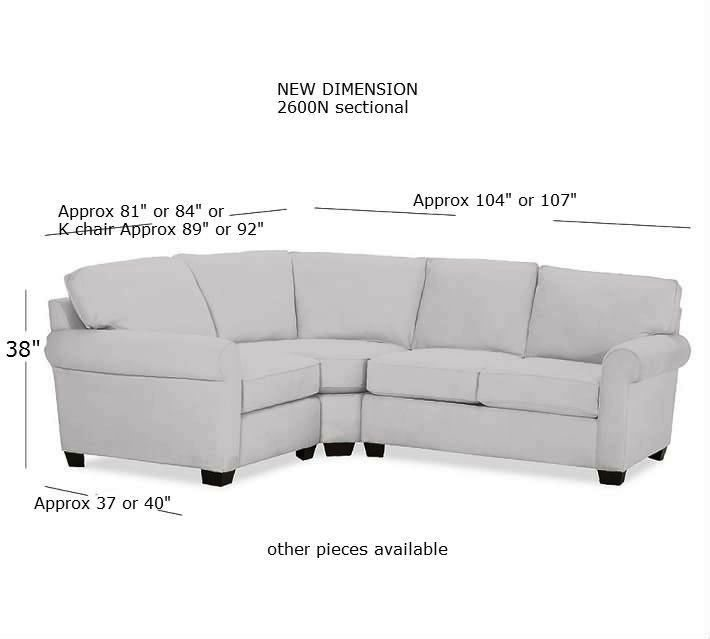 Beau 2600N CROPPED 2600n Sectional W Measurements 2600N Sofa Measurements