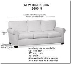 2600N sofa measurements